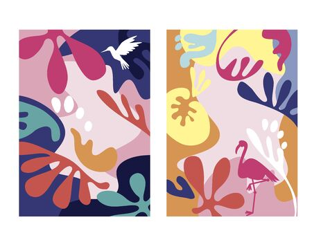 Abstract tropical background designs with bird and leaves. Jungle inspired  fluid shapes for card, header, invitation, poster, social media, post publication. Summer sale promotional content. Illustration