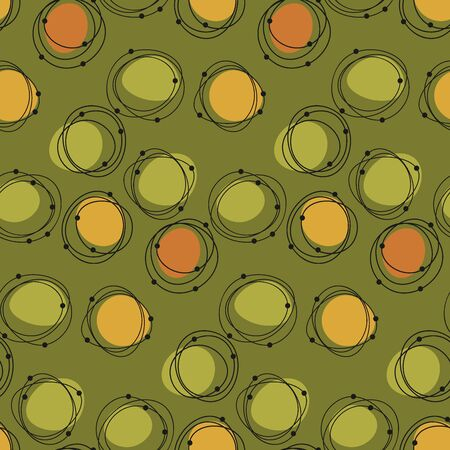 Atomic age 50s vibes concept seamless pattern. Abstract geometric Polka dot geometry rapport for fabric, textile, wrap, surface, web and print design. Middle age natural shapes repeatable motif.
