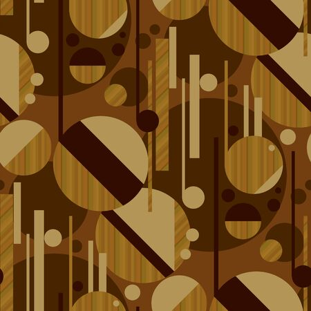 Sophisticated geometric seamless pattern with wood texture. Modern mosaic composition in 1950s style. Vector repeatable motif for fabric, textile, wrap, surface, wallpaper, web and print design. Foto de archivo - 129759702