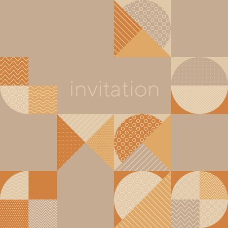 Geometric shapes vintage 50s style motif. Tender warm and cold hue vintage vibes pattern for card, header, invitation, poster, social media, post publication. Illustration