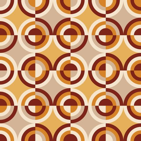 Italian mood tile vintage seamless pattern. Orange and yellow retro vibes geometric repeatable motif for background, wrap, fabric, textile, wrap, surface, web and print design. Illustration