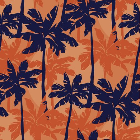 Blue palm silhouette on orange background tropical  seamless pattern. Minimal exotic nature summer repeatable motif  for fabric, textile, wrap, surface, web and print design.
