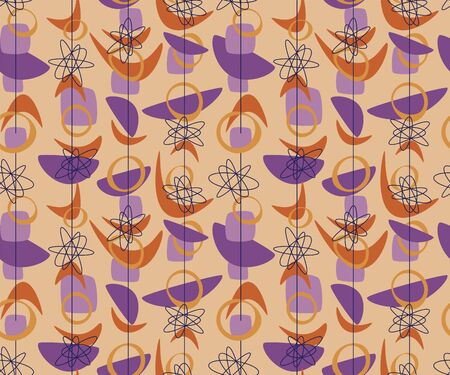 Geometric cosmos age style seamless rapport. Atomic age 50s vibes simple repeatable pattern. Abstract natural forms geometry mid-century  motif for fabric, textile, wrap, surface, web and print design.