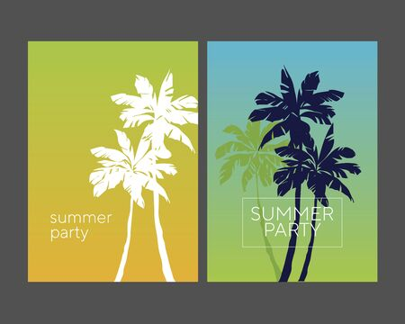 Retro style tropical palm silhouette poster set. Abstract summer background set for poster, card, post, header, cover, web and print. Elegant laconic design element for summer vacation.