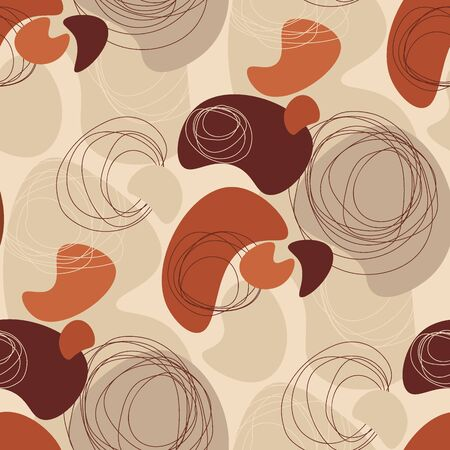 Elegant beige and brown middle age vibes seamless pattern. Natural rounded repeatable forms motif for background, wrap, fabric, textile, wrap, surface, web and print design.