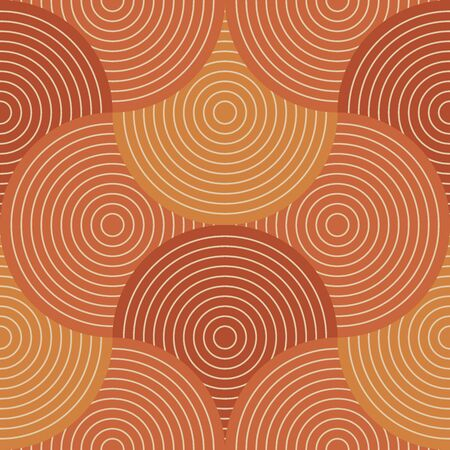 Orange wavy stripes regular seamless pattern for background, wrap, fabric, textile, wrap, surface, web and print design. Terracotta hues retro repeatable motif. Vector rapport.