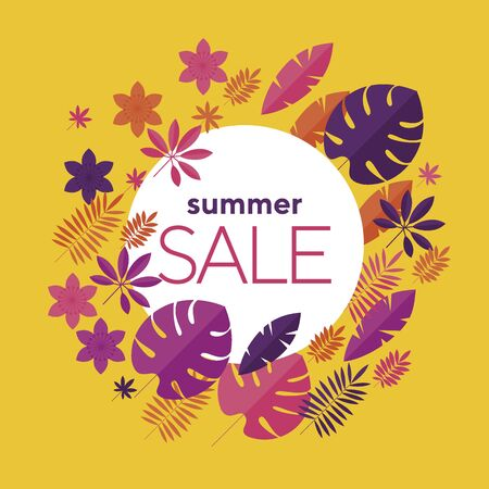 Hot summer tropical sale banner on yellow. Summer sale template banner, poster with palm leaves, jungle leaf. Floral tropical composition for card, header, invitation, poster, social media, post publication. Illustration