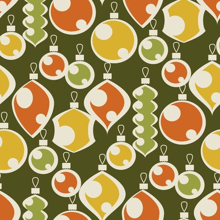 Vintage colors seamless pattern of xmas bauble toy ornament. Laconic shapes Christmas decoration repeatable motif for fabric, textile, wrap, surface, web and print design.