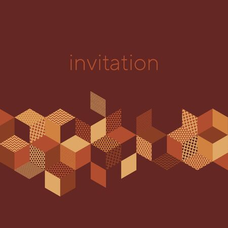 Abstract cubes and rhombus shapes composition for card, header, invitation, poster, social media, post publication. Decorative orange and brown gradient vector element.