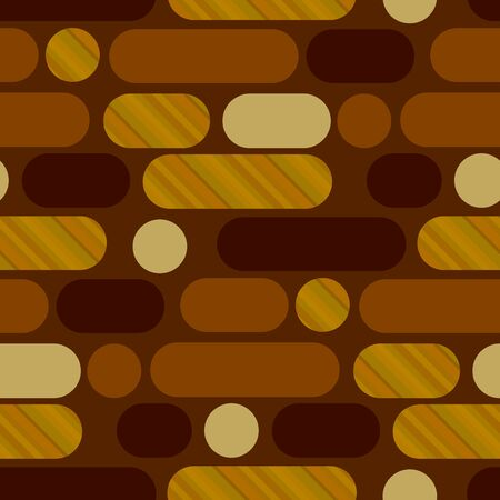 Oblong oval shapes horizontal repeat motif. Concept simple wood textured geometric 50s vintage seamless pattern. Rapport for for fabric, textile, wrap, surface, wallpaper, web and print design. Çizim