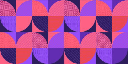 Retro style purple and coral geometric seamless pattern. Wavy violet repeatable motif for background, wrap, fabric, textile, wrap, surface, web, textile, wallpaper and print design.   Çizim
