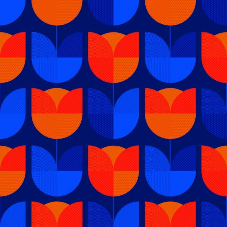 Holland blue and orange tulip flower seamless pattern. Geometric shape tile rapport for background, wrap, fabric, textile, wrap, surface, web and print design.