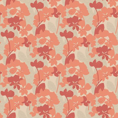 Simple orange orchid silhouette seamless pattern for background, wrap, fabric, textile, wrap, surface, web and print design. Vintage vibes tropical nature tile motif.