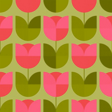 Сute vintage geometric floral seamless pattern. Tulip flower shape coral and green rapport for background, wrap, fabric, textile, wrap, surface, web and print design.  Иллюстрация
