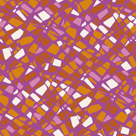 Abstract kaleidoscope stone mosaic seamless pattern for background, wrap, fabric, textile, wrap, surface, web and print design. Pink and orange geometric texture tile motif. Çizim