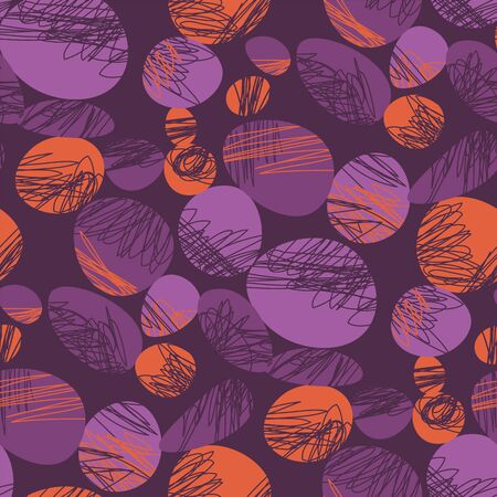 Vintage vibes violet and orange trendy seamless pattern. Fun and playful freehand repeatable motif for background, wrap, fabric, textile, wrap, surface, web, textile, wallpaper and print design.