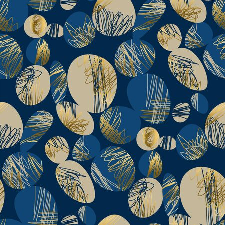 Creative deluxe hand drawn abstract seamless pattern. Gold and blue elegant liquid and line repeatable motif for background, wrap, fabric, textile, wrap, surface, web, textile, wallpaper and print.