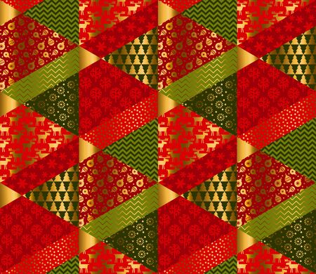 Christmas elegant patchwork with simple patterns. Xmas seamless pattern for background, wrap, fabric, textile, wrap, surface, web and print design. Tile rapport vector illustration. Banco de Imagens - 132150333