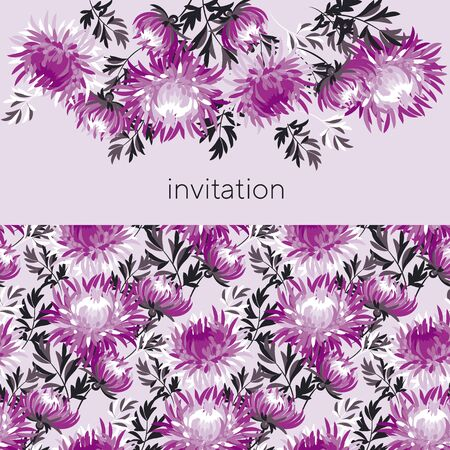 Elegant chrysanthemum  seamless banner for background, wrap, fabric, textile, wrap, surface, web and print design. Pink and black elegant orient style rapport.
