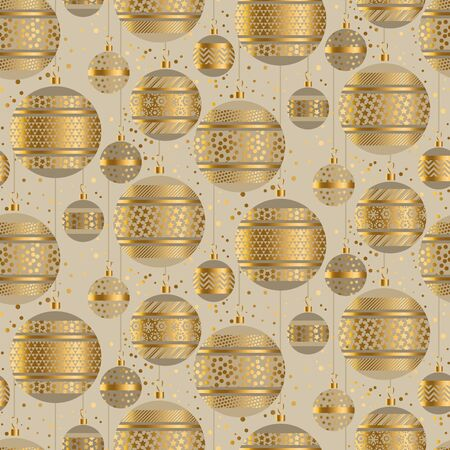 Christmas holiday gold abstract balls seamless pattern. Geometric elegant xmas repeatable motif for background, wrap, fabric, textile, wrap, surface, web and print design.   Çizim