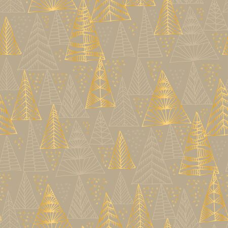 Christmas holiday gold and beige gray seamless pattern. Hand drawn xmas tree sketch repeatable motif for background, wrap, fabric, textile, wrap, surface, web and print design. Çizim