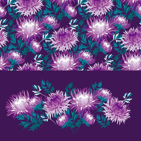 Violet chrysanthemum flower seamless banner for background, wrap, fabric, textile, wrap, surface, web and print design. Pink and black elegant floral rapport.