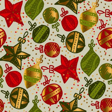 Christmas decoration in hand drawn style seamless pattern for background, wrap, fabric, textile, wrap, surface, web and print design. Tile rapport of xmas wrap. vector illustration. Çizim