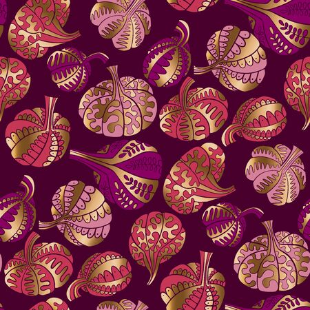 Elegant luxury gold and purple pumpkin seamless pattern for background, wrap, fabric, textile, wrap, surface, web and print design. Stencil shapes original halloween and Thanksgiving symbols rapport. Ilustração