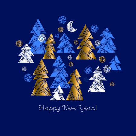 Simple geometric gold and blue xmas tree composition for card, header, invitation, poster, social media, post publication.  Modern trendy round shapes Christmas forest vector illustration.