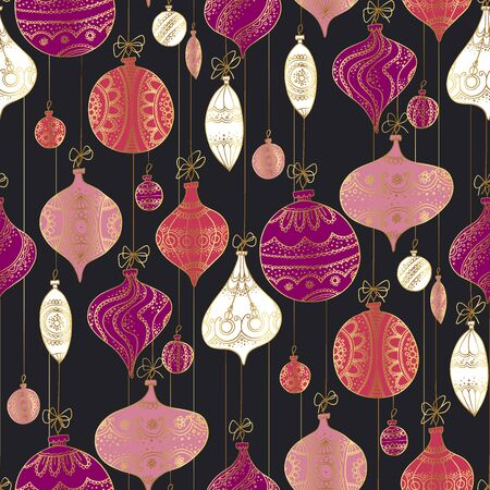 Decorative xmas vintage bauble on black background seamless pattern for background, wrap, fabric, textile, wrap, surface, web and print design. Retro style luxury naive hand drawn Christmas decoration vector illustration.