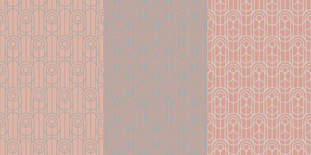 Abstract geometric vintage style luxury seamless pattern for background, wrap, fabric, textile, wrap, surface, web and print design. Gray and rosy retro mood vector rapport.