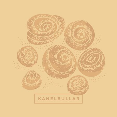 Naive style cinnamon rolls in craft colors for card, header, invitation, poster, social media, post publication. Bakery bun Kanelbullar day vector illustration. Vintage Swedish buns.