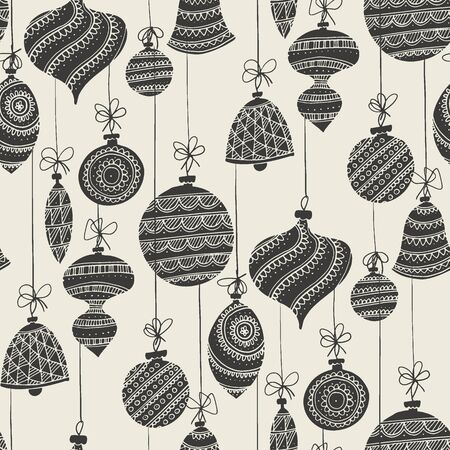 Elegant black and white xmas baubles seamless pattern for background, wrap, fabric, textile, wrap, surface, web and print design. Christmas and New year decoration rapport in lace style.  Çizim