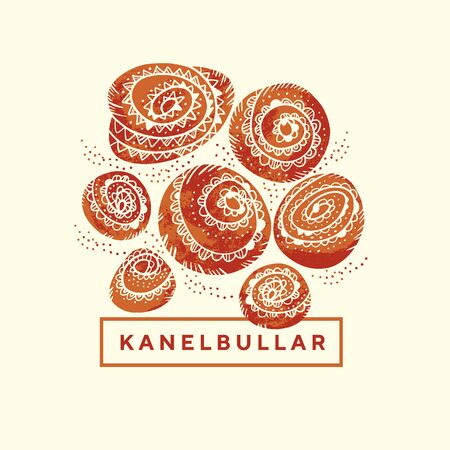 Folk style cinnamon rolls for card, header, invitation, poster, social media, post publication. Bakery bun Kanelbullar day vector illustration. Vintage Swedish buns.