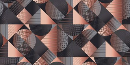 Elegant deep gray geometry seamless pattern for background, wrap, fabric, textile, wrap, surface, web and print design. Rose gold and gray textured classic style rapport for office and business projects. Ilustração
