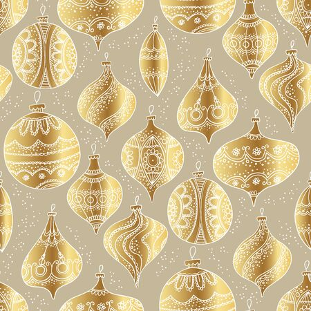 Golden luxury hand drawn xmas baubles seamless pattern for background, wrap, fabric, textile, wrap, surface, web and print design. Retro style assorted naive sketched Christmas decoration vector illustration.