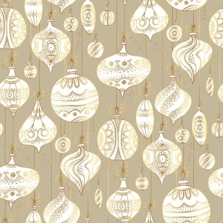 Decorative elegant white xmas assorted baubles seamless pattern for background, wrap, fabric, textile, wrap, surface, web and print design. Retro style luxury naive hand drawn  Christmas vector illustration. Ilustração