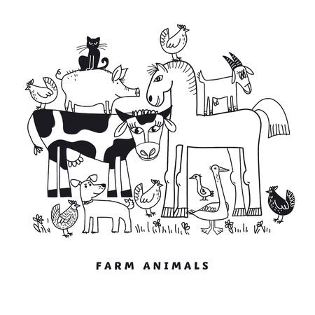 Farm animal coloring composition for card, header, invitation, poster, social media, post publication. Funny domestic bird and mammals for kids projects.