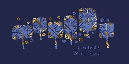 Luxury gold and blue winter tree xmas banner. vector illustration for card, header, invitation, poster, social media, post publication. Nordic laconic park tree and snowflakes naive hand drawn composition.