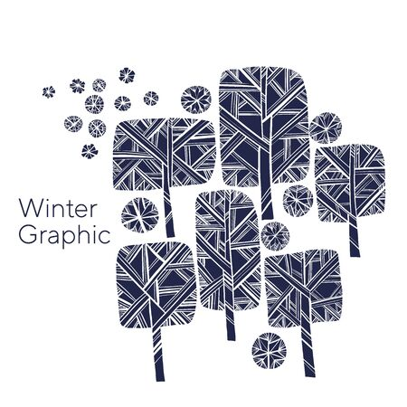 Black and white winter tree vector illustration for card, header, invitation, poster, social media, post publication. Nordic laconic park tree and snowflakes naive hand drawn composition.
