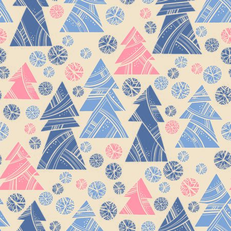 Cute naive north style xmas tree shapes seamless pattern for background, wrap, fabric, textile, wrap, surface, web and print design. Modern trendy rose and violet Christmas forest rapport vector illustration.