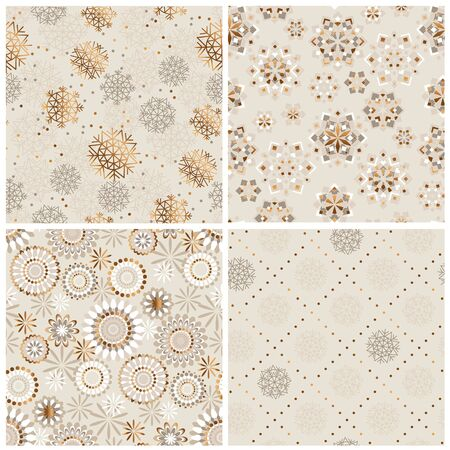 Beige and gold laconic xmas snowflakes seamless pattern set. Elegant abstract Christmas baubles rapports for background, wrap, fabric, textile, wrap, surface, web and print design. Ilustração