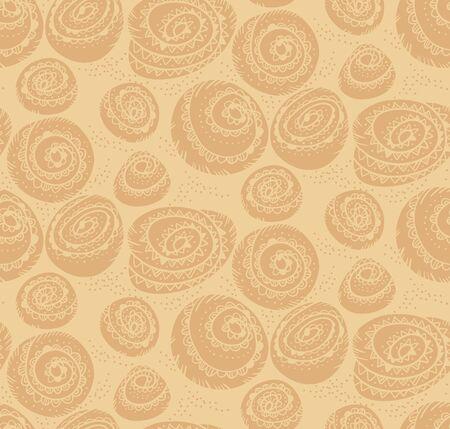 Papier d'emballage de boulangerie avec motif harmonieux de brioche à la cannelle pour l'arrière-plan, l'emballage, le tissu, le textile, l'emballage, la surface, le web et la conception d'impression. Motif de couleur artisanale beige doux pour le projet d'automne. Vecteurs