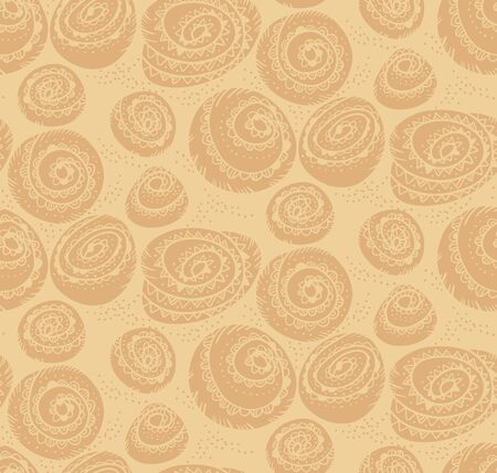Bakery wrapping paper with cinnamon bun seamless pattern for background, wrap, fabric, textile, wrap, surface, web and print design. Soft beige craft color motif for autumn project.