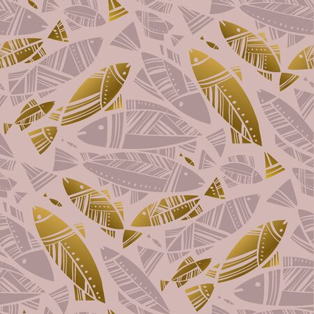 Luxury rosy and gold mosaic fish seamless pattern for background, wrap, fabric, textile, wrap, surface, web and print design. Elegant decorative coral fish rapport for vacation summer project. Ilustração