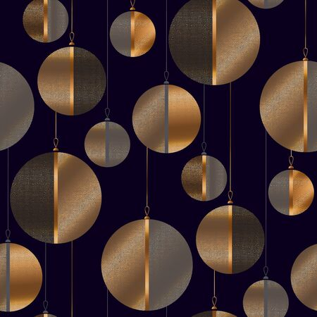 Black and copper metal Christmas  baubles seamless pattern for background, wrap, fabric, textile, wrap, surface, web and print design. Elegant masculine design with abstract laconic xmas balls. Ilustração