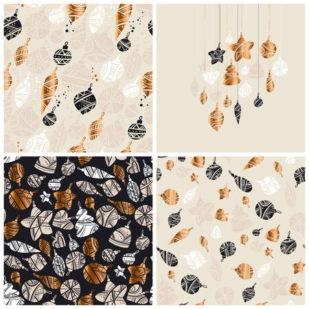 Beige and gold elegant xmas baubles pattern set.  Elegant black and white new year design for card, header, invitation, poster, social media, post publication. Ilustração
