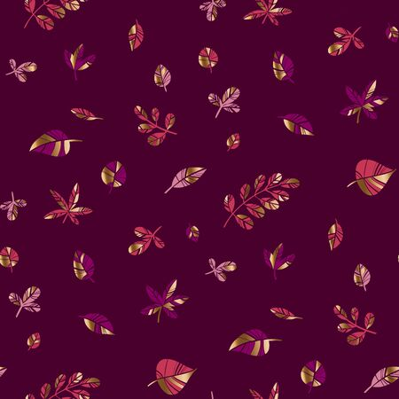 Glamorous ornamental autumn foliage seamless pattern for background, wrap, fabric, textile, surface, web and print. Leaves with gold partikles vector rapport for halloween and Thanksgiving. Ilustração