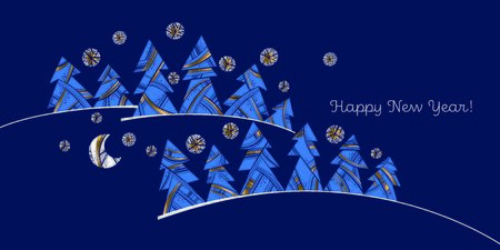 Elegant luxury gold and blue xmas tree composition for card, header, invitation, poster, social media, post publication.  Modern trendy Christmas forest vector illustration.