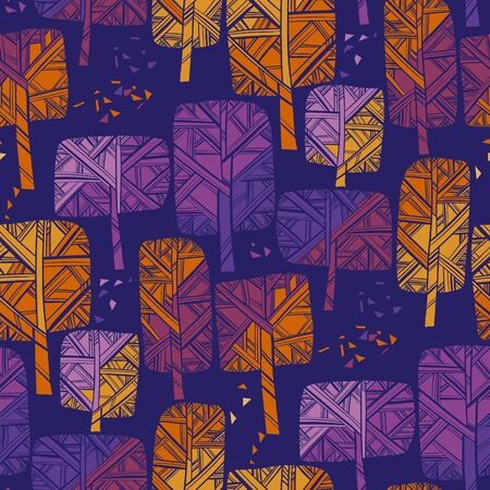 Bright vivid autumn park tree seamless pattern for background, fabric, textile, wrap, surface, web and print design. October colorful forest tile rapport. Hand drawn modern style Vector illustration.  Ilustração